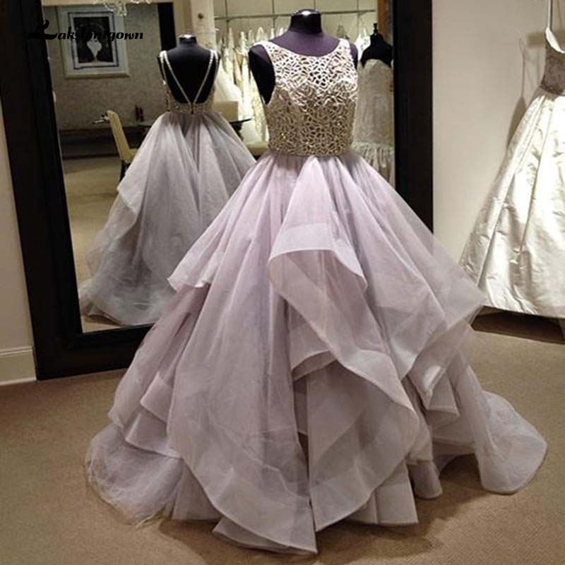 Round Neck Sequin Tulle Long Wedding Dresses Princess Ruffles Bridal Gown Party Dress