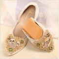 2017 новая мода острый конус алмазные женщины плоские туфли женские квартиры обувь женщина весна лето женская обувь золото черный серебристый