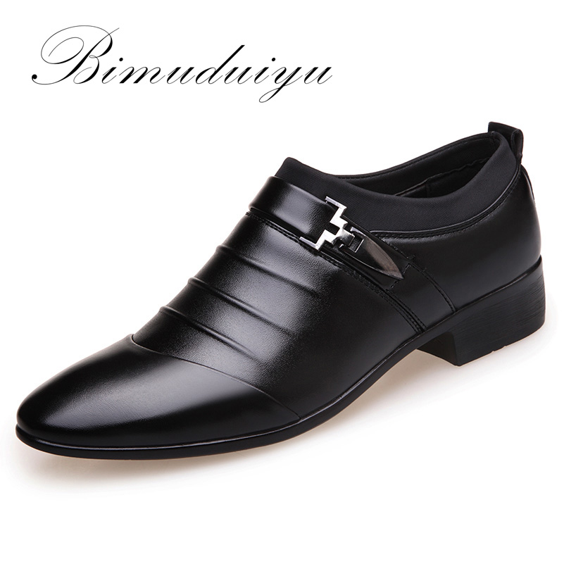 BIMUDUIYU Brand Artificial Leather Mens Formal Shoes Dress Shoes Fashion Business Affairs Design Oxford Wedding Shoes