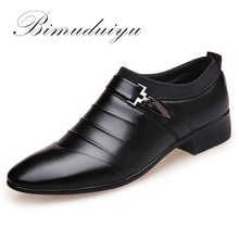 BIMUDUIYU luxury Brand Artificial Leather Men Pointed Toe Dress Black Shoes Slip-On Business Affairs Design Oxford Wedding