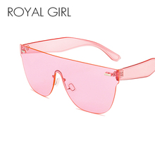 цена на ROYAL GIRL Fashion Women Sunglasses Cat Eye Shades Luxury Brand Designer Sun glasses Integrated Eyewear Candy Color UV400 ss245