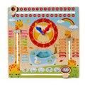 Детские Многофункциональные Мультяшные деревянные часы  игрушка когнитивный календарь  Детская образовательная игрушка  головоломка для ...