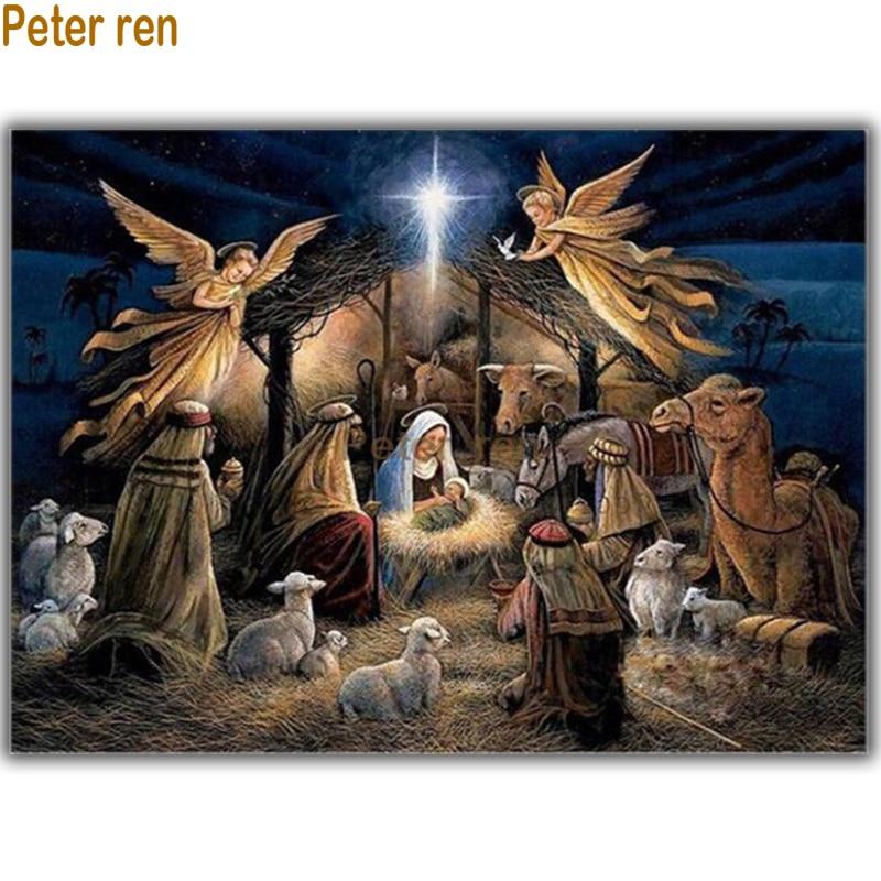Peter ren diamond painting cross stitch artwork Diy round diamond Mosaic Full embroidery Rhinestones Nativity of the straw house