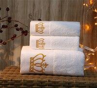 1 шт вышитая Корона белая 5 звезд отель полотенце s 100% набор хлопковых полотенец лицо полотенце банное полотенце Мочалки хорошо впитывающий
