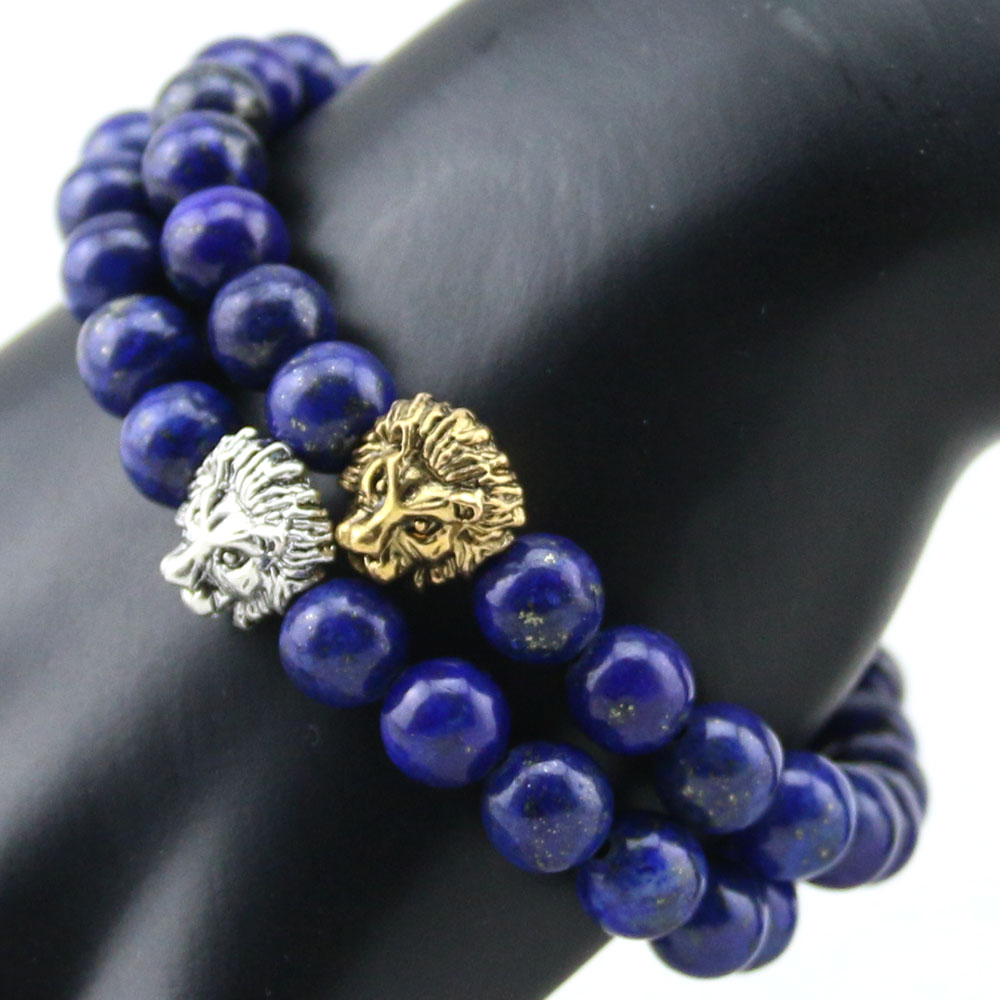 Aliexpress : Buy 2015 New Design Gem Beaded Bracelets,8mm Blue Lapis  Lazuli Stone Beads Sliver Plated Lion Head Bracelet, High Grade Mens Jewelry  From