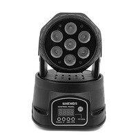 Высокое качество светодиодный мини 7X18 Вт мыть свет RGBWA + UV 6в1 движущиеся головки Освещение сцены DMX сценический свет ди-джей в ночном клубе ве...