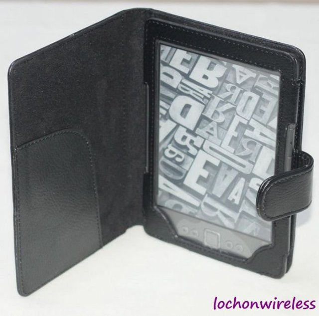 Free Shipping Black Folio PU Leather Case For Amazon Kindle 4 4G Case