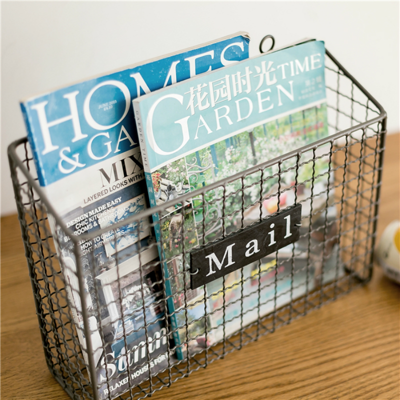 Wall Hanging Creative Newspaper Holder Living Room 36X13X28cm Metal Magazine Rack
