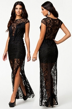 ebe13e4eafc1 New Women Black Lace Maxi Dress Slit Evening Dress D6397 Fringe Sheer Lace  Overlay Evening Dress High Waist Pleated Dresses