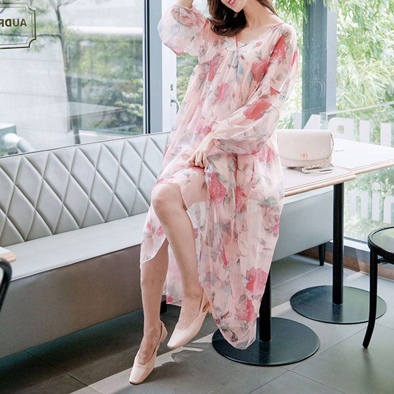 Pink elegant long dress suit chiffon long sleeve floral dress V neck maxi dresses female 2017 autumn fashion woman woman vestido