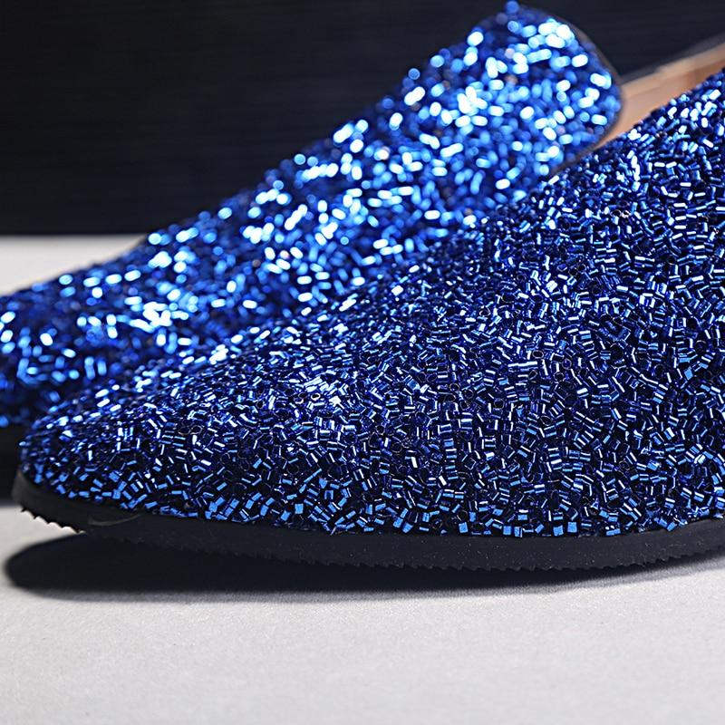 Nieuw Design Heren Casual Schoenen Blauw Bling Lovertjes Crystal - Herenschoenen - Foto 3
