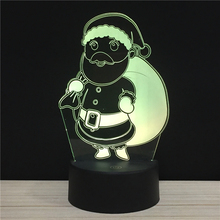 3D Light Merry Christmas colorful touch lights LED 7 colors Santa Claus Snowman Xmas present Night lamp remote lighting gifts ML