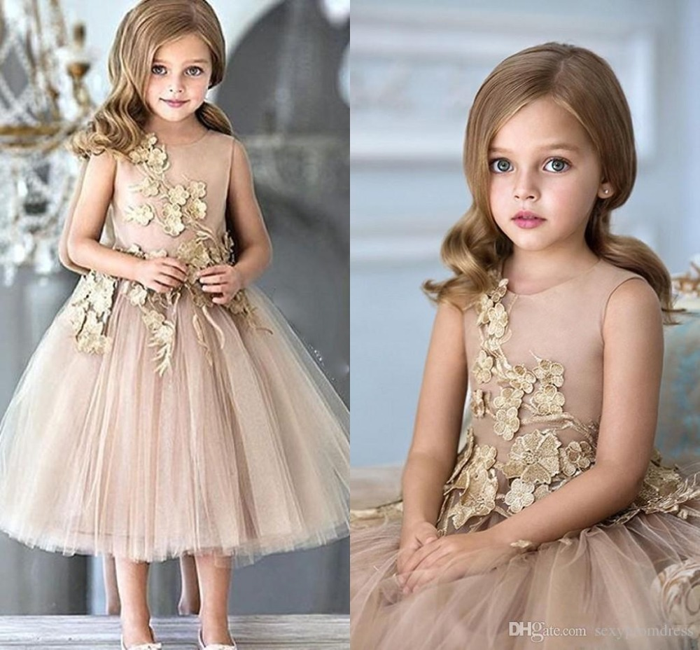 Weddings Champagne Tulle Appliques Tea Length A Line   Girls   Pageant Gowns Zipper Back Customized Kids Party   Flower     Girls     Dresses