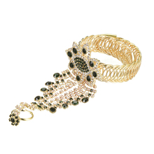 Ladiess Beautiful Crystal Gem Decor Hand Harness Tassel Bangle Chain Bracelet Slave Finger Ring