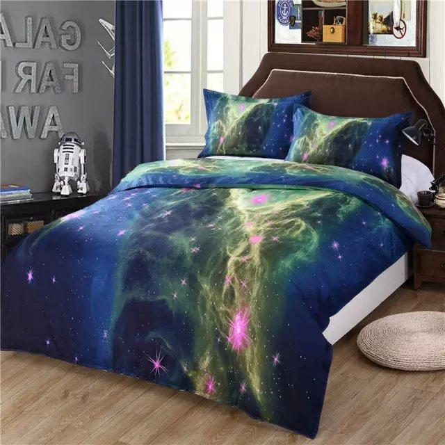 3/4pcs Popular Galaxy 3D Bed Linen Stars House De Couette Lit Twin Duvet  Cover Flat Sheet And Pillowcase Set