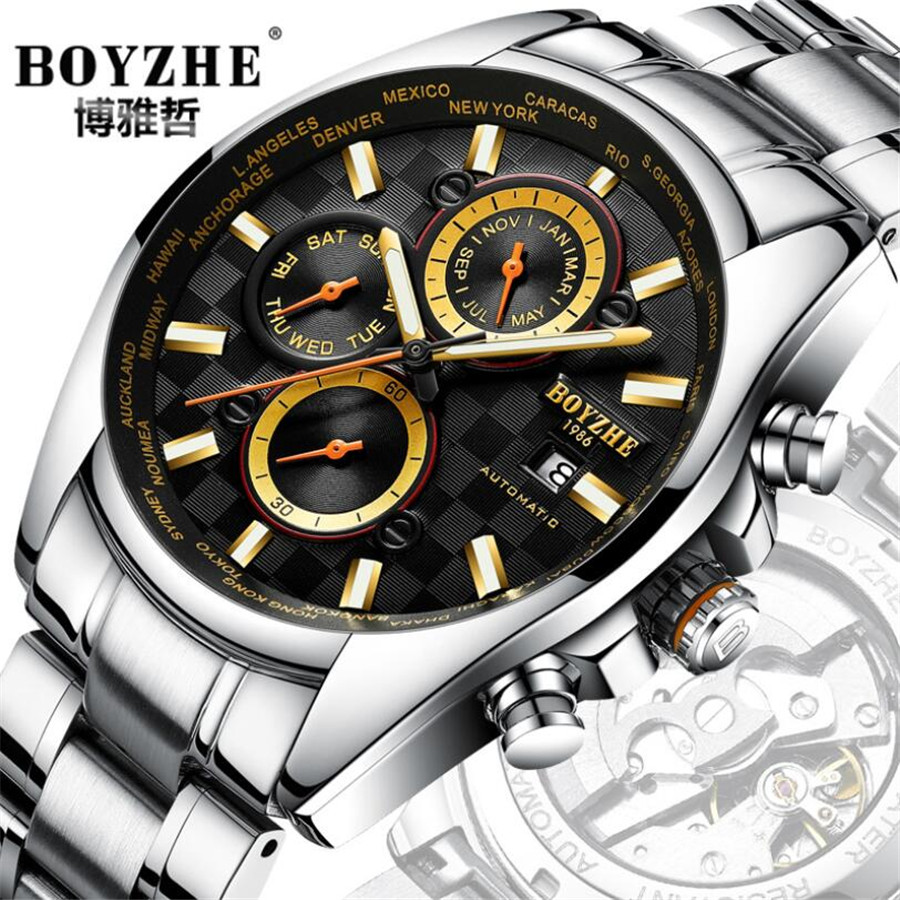 Business Mens Watches Top Brand Luxury Automatic Watch Men Mechanical Sports Military Watches Waterproof Luminous Date Clock NEW 2018 top luxury brand men automatic mechanical watch leather mens watches sports military wrist watches waterproof male clock