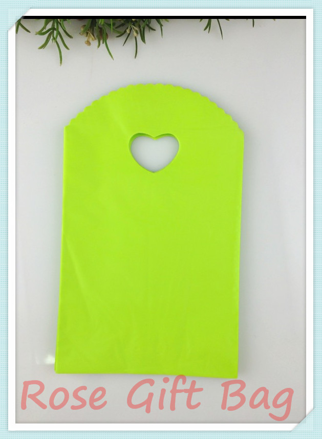 100pcs/lot Green Plastic Bag 13x21cm Jewelry Package Bag Favor Boutique Packaging Plastic Gift Bags Shopping Bags With Handle