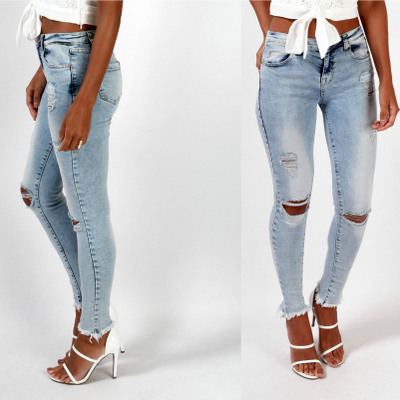 2016 new fashion autumn and winter  Women Cotton broken hole Jeans stretch trousers high waist jeans  burr hole Slim pants feet