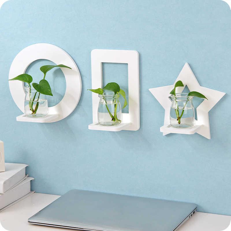 Prateleira decorativa de parede, decoração para parede criativa, vaso de água, suporte para flores, rack de armazenamento em vaso (não inclui garrafa)