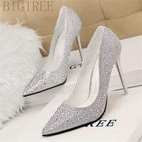 2017 New Fashion Sexy Women Silver Rhinestone Wedding Shoes Platform Pumps Red Bottom High Heels Crystal