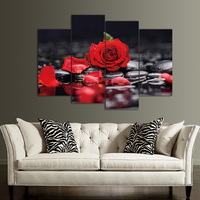 4 Pieces Set Canvas Print Flower White Lotus In Black Wall Art Picture With Modern Wall