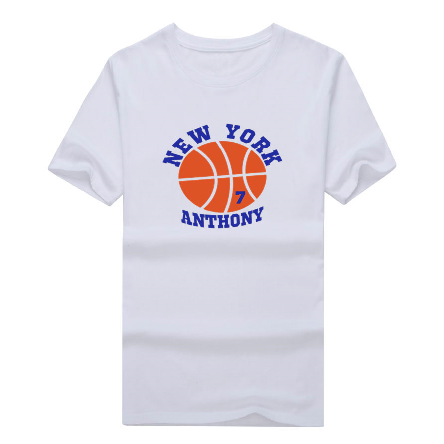 2017 New Knicks Carmelo Anthony 7 T-shirt 100% cotton short sleeve fashion cool printed  ...