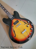 Özel Mağazalar G Gitar ES 335 caz hollow elektrik Gitar, P 90 manyetikler Vintage Sunburst renk gerçek Resimler hollow vücut