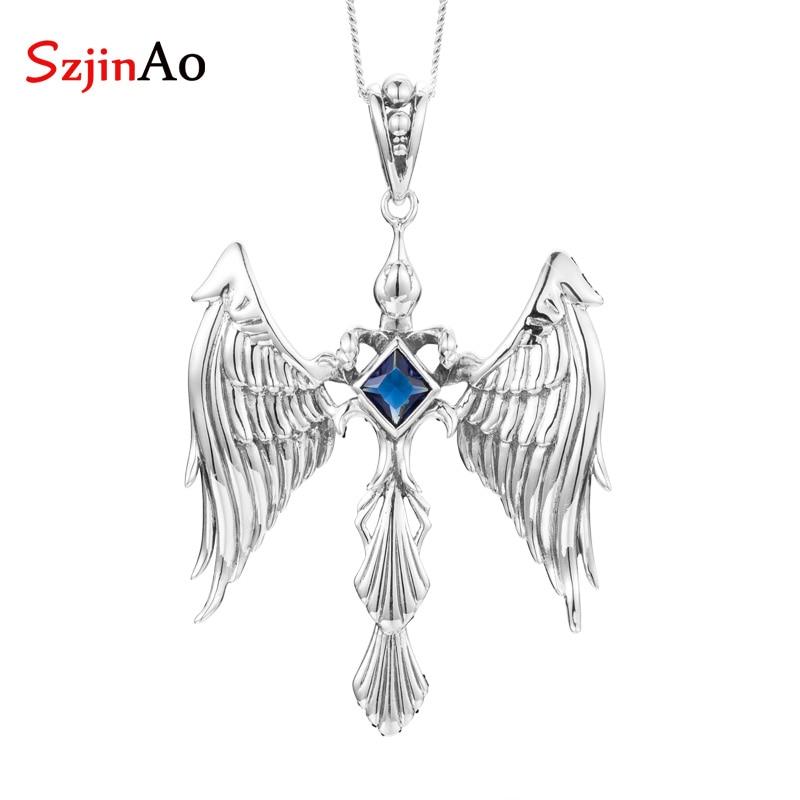 SzjinAo Luxury Elegant Angel Solid 925 Sterling Silver Sapphire Pendant September Birthstone Fine Jewelry Women Accessories