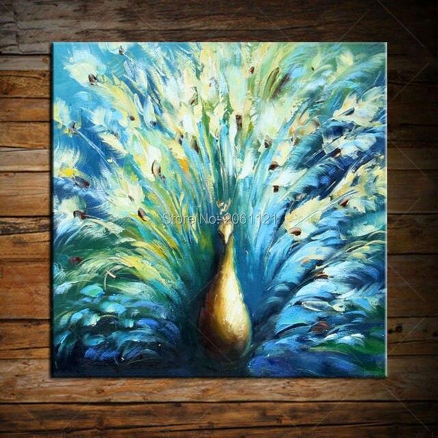 Hand Made Leinwand ölgemälde Blau Pfau Wandkunst Dekoration Moderne  Abstrakte Vögel Wandbilder Für Wohnzimmer