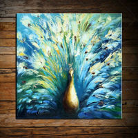 Hand Made Canvas Oil Paintings Blue Peacock Wall Art Home Decoration Modern Abstract Birds Wall