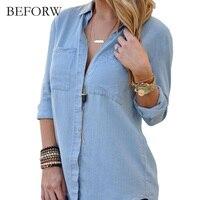 BEFORW 2017 Spring Autumn Women Blouse Long Sleeves Leisurely Denim Blusas Shirt Women Tops Jeans Soft
