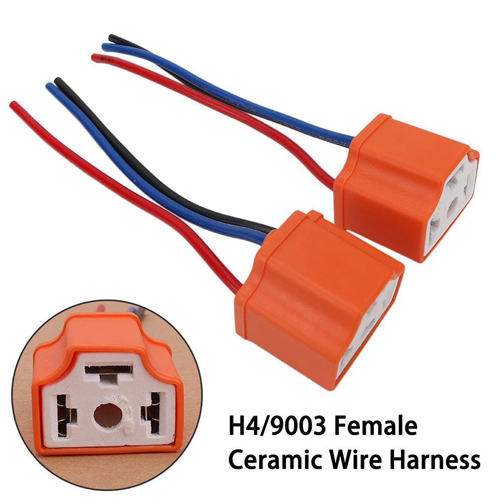 h4 9003 hb2 car truck female ceramic headlight extension connector plug light lamp bulb wire socket adapter 12v new [ 1001 x 1001 Pixel ]