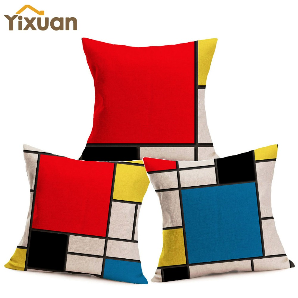 moderne color mondrian grille imprimer housse de coussin yixuan coton lin taie d 39 oreiller carr. Black Bedroom Furniture Sets. Home Design Ideas