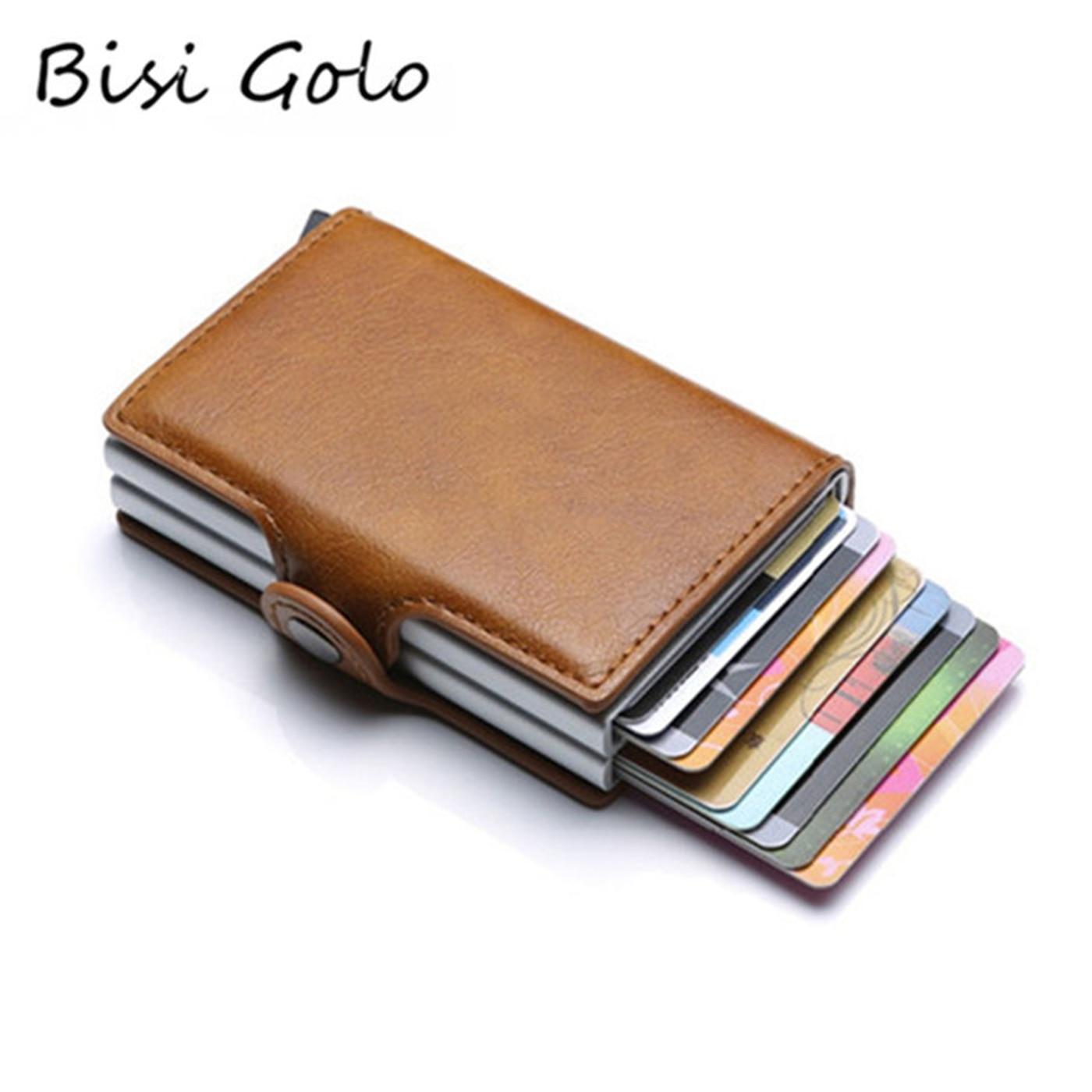 BISI GORO 2019 Wallet Business Credit Card Holder Wallet Unisex Metal Blocking RFID Wallet ID Card Case Aluminium Travel Purse