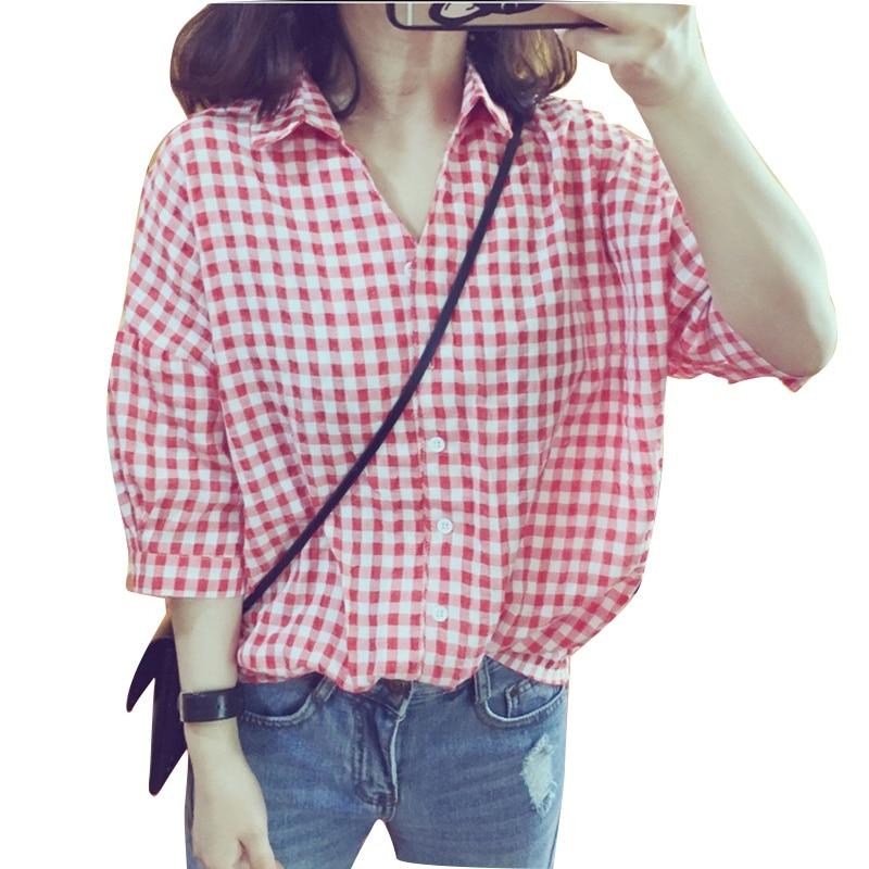 Summer Plaid Women Loose Shirts Half Sleeve Casual Summer Blouses Shirts New Irregular Checked Shirts Blouses & Shirts