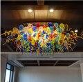 Круглый стеклянный потолочный светильник  Банкетный зал для офиса отеля  выполненный на заказ  цветная люстра из муранского стекла