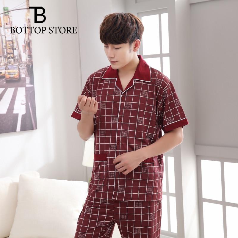 2018 Mens Nightwear Set Male Short Pajamas Man Casual Sleep Wear Men Suits Sleeping Long Pants Short Sleeve Homme Frete Gratis