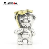 Mistletoe Genuine 925 Sterling Silver & Bronze Lucky Clover Bear Charm Bead Fit DGA OHM Troll And Pan Bracelet Jewelry