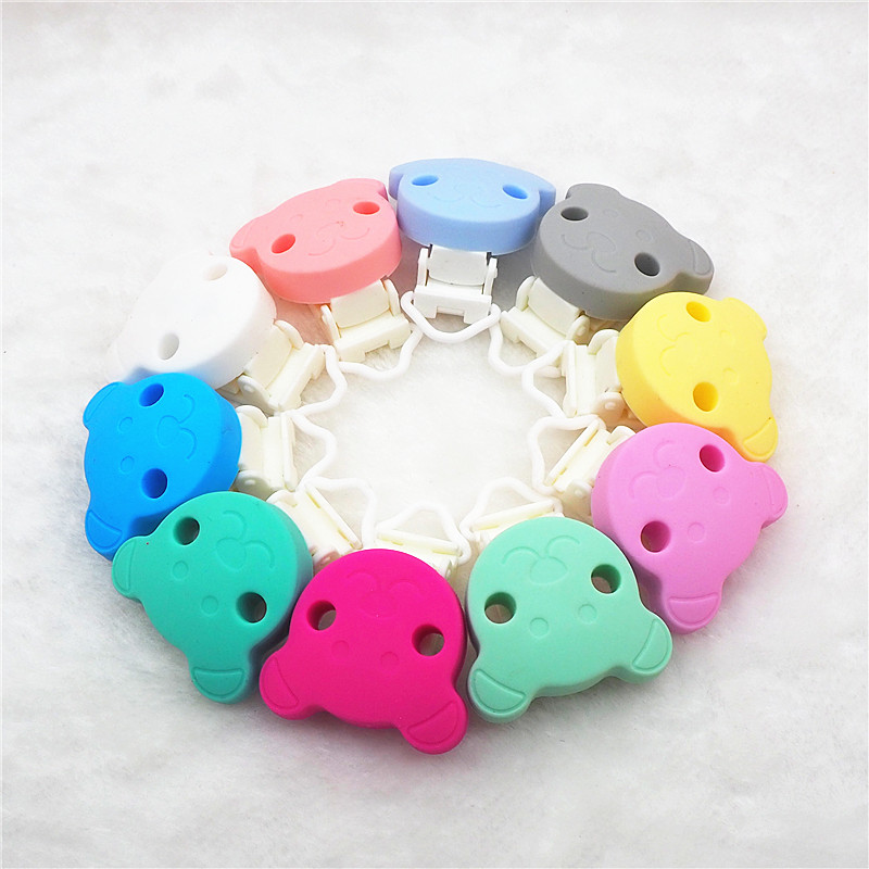 Chenkai 10PCS Silicone Bear Teether Clips DIY Baby Pacifier Dummy Teething Chain Holder Soother Nursing Jewelry Toy Clips