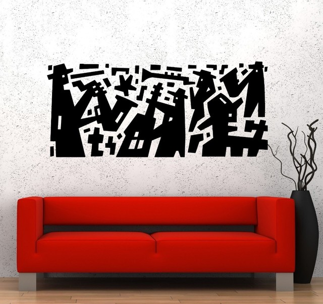 Musik jazz band modern art vinyl sticker dinding decal removable wall sticker dekorasi rumah