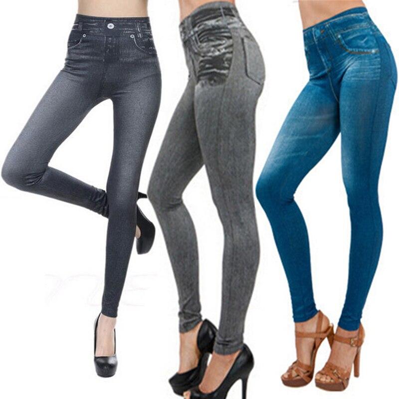 Women Denim Pants Pocket Slim   Leggings   Fitness Plus Size Leggins Length Jeans Push Up Ladies Trousers Jeans vaqueros mujer