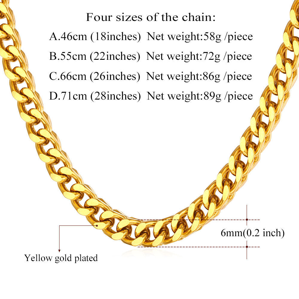 Hiphop Cuban Chains For Men Jewelry Gold Color 6MM 56CM 22 Inches ...