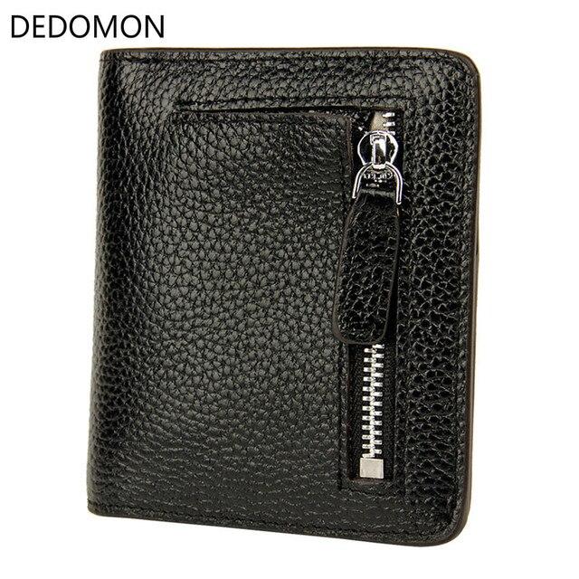 2018 Genuine Leather Wallet Women Luxury Brand RFID Blocking Bifold Cion Pocket Zipper&Hasp Small Handmade Wallet Card Holder