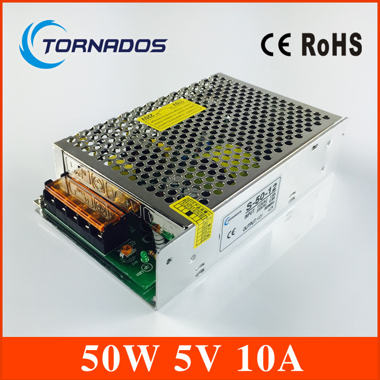 5V 10A 50W LED Switching Power Supply Transformer 110V 220V AC to DC 5V output, for LED Strip light for CCTV (S-50-5)