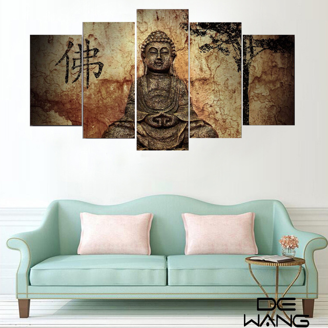 Zen Wall Decor aliexpress : buy 5 piece zen buddha modern home wall decor