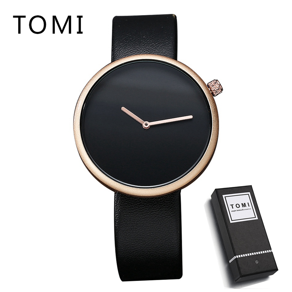 TOMI Brand Fashion Men Business Watch Clock Leather Strap Quartz Wristwatches Sport Waterproof Watch Mens Black Watches casual leather band mens watch fashion business analog display quartz wristwatches montre homme water resistant luminous clock