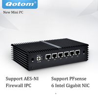 Best selling Mini PC with Celeron Core Pfsense AES NI 6 Gigabit NIC Router Firewall Support Linux Fanless Mini PC