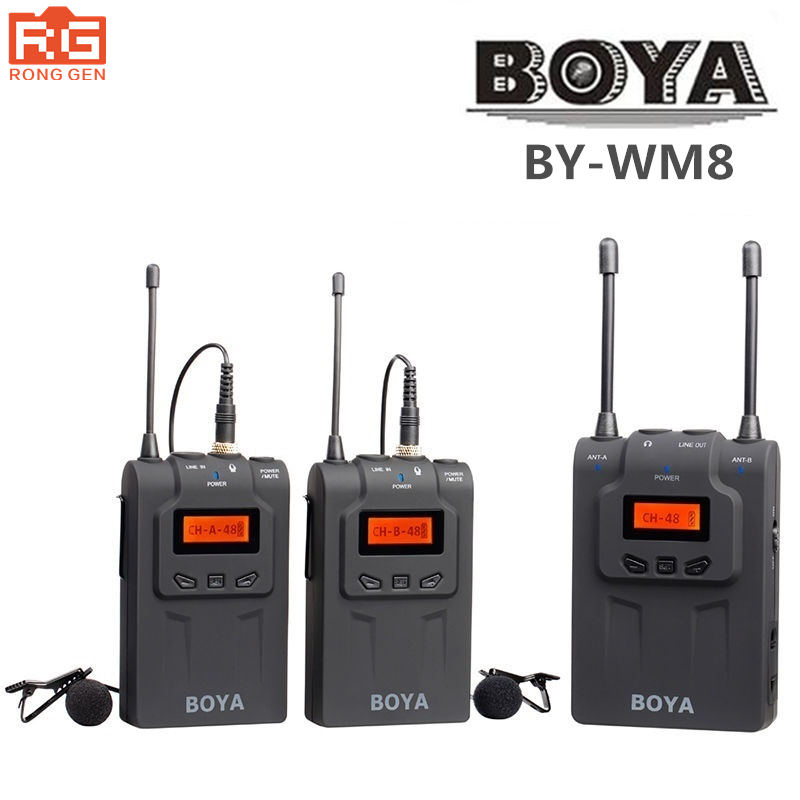 Original BOYA BY-WM8 UHF Dual-Channel Wireless Lavalier Microphone System with 48 Channels for ENG EFP DSLR Cameras CamcordersOriginal BOYA BY-WM8 UHF Dual-Channel Wireless Lavalier Microphone System with 48 Channels for ENG EFP DSLR Cameras Camcorders