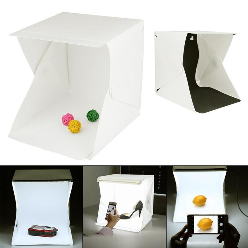 Portable Folding Lightbox Photography LED Light Room Photo Studio Light Tent Soft Box Backdrops for Digital DSLR Camera 40*40CM