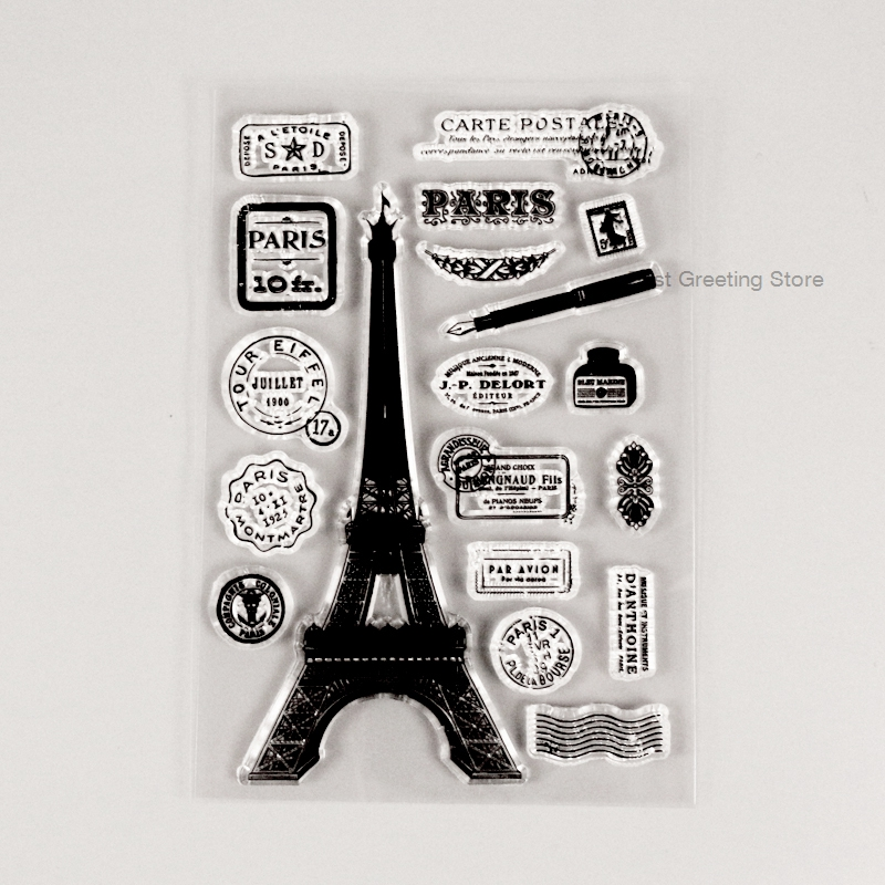 France Paris Postage Mark Stamps Effiel Tower Stamps Card Craft Stamps Clear Postcard Decorative Stamps